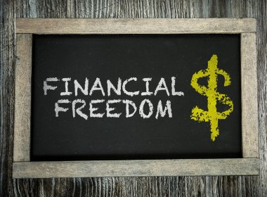 Financial Freedom on chalkboard