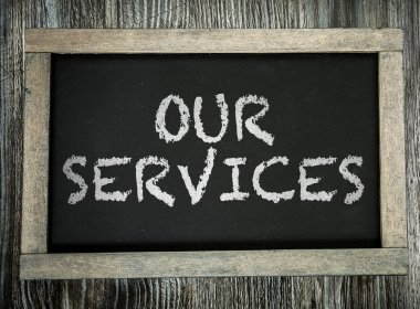 Our Services on chalkboard