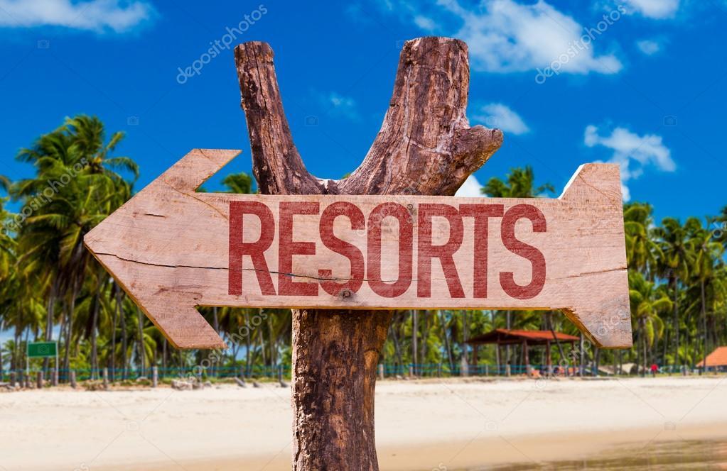Resorts wooden arrow
