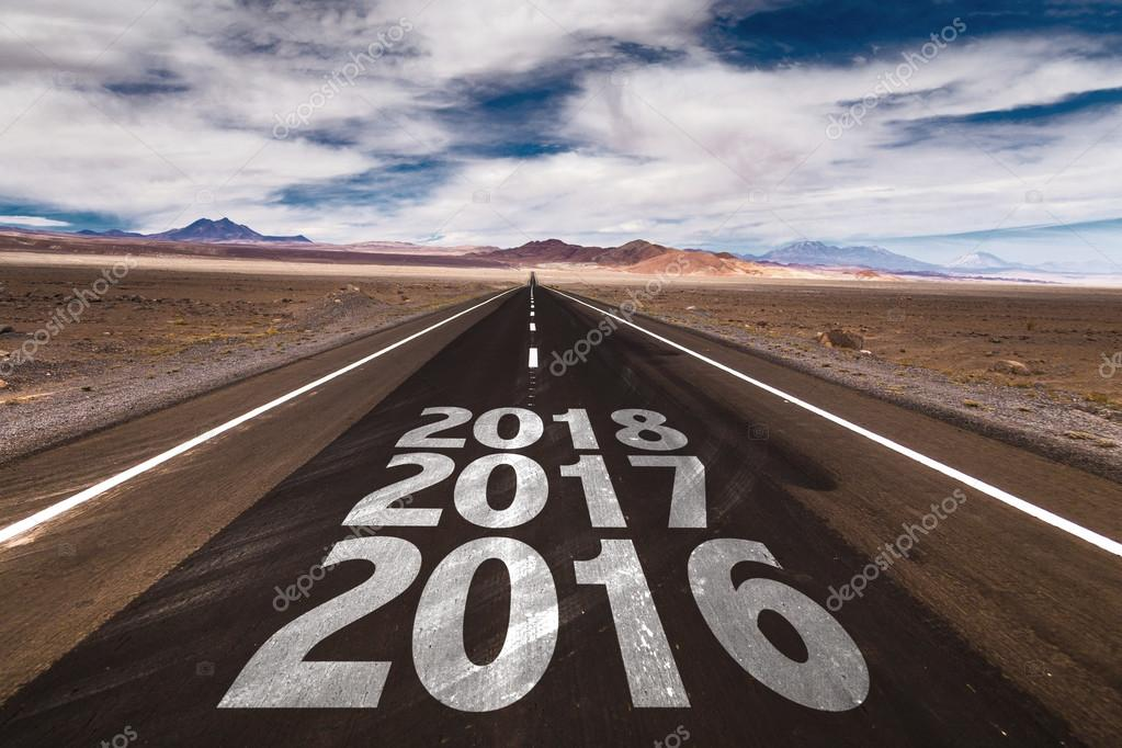2016 2017 2018 written on road stock photo gustavofrazao 87975542
