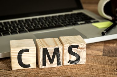 cms written on a wooden cubes