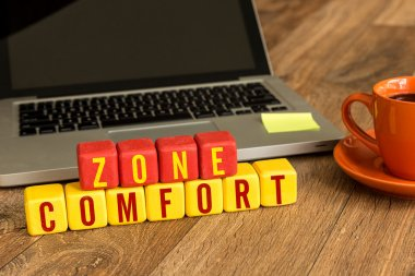 Comfort Zone written on cubes