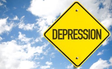 Depression text sign