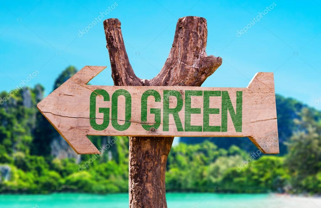 Go Green wooden arrow