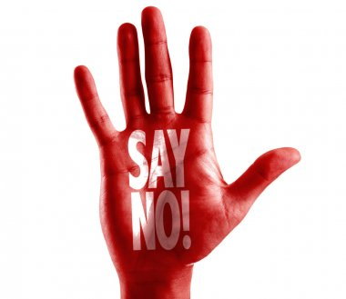 Say No! written on hand