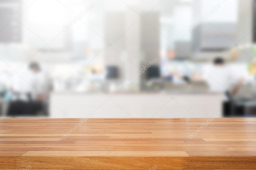 Empty Wooden Table And Blurred Kitchen Background Stock