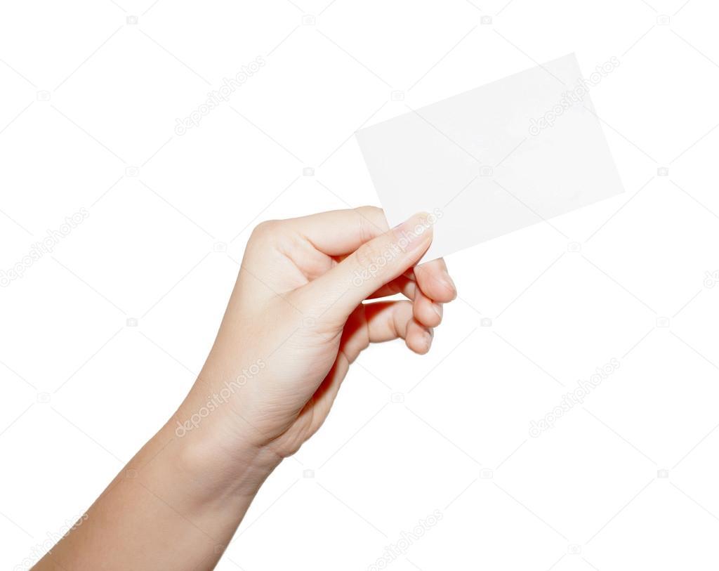 Woman hand hold blank business card — Stock Photo © pannawat #60753395