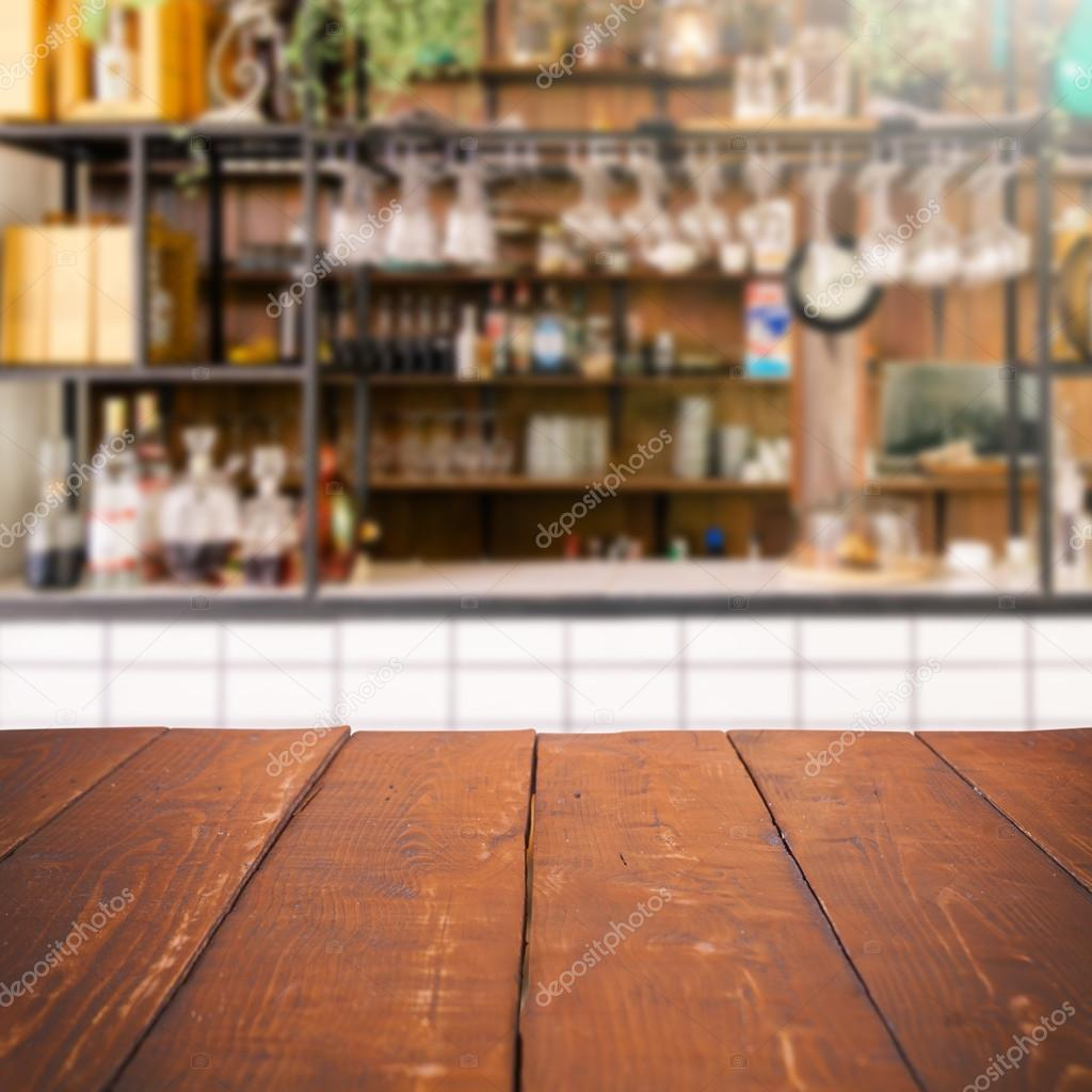 Kitchen Background Image: Empty Table And Blurred Kitchen Background, Product