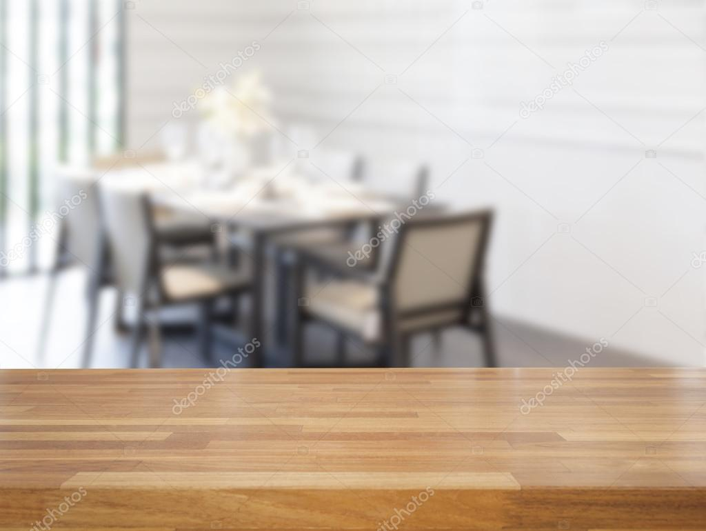 Elegant Empty Wooden Table And Dining Room Tables Background U2014 Stock Photo