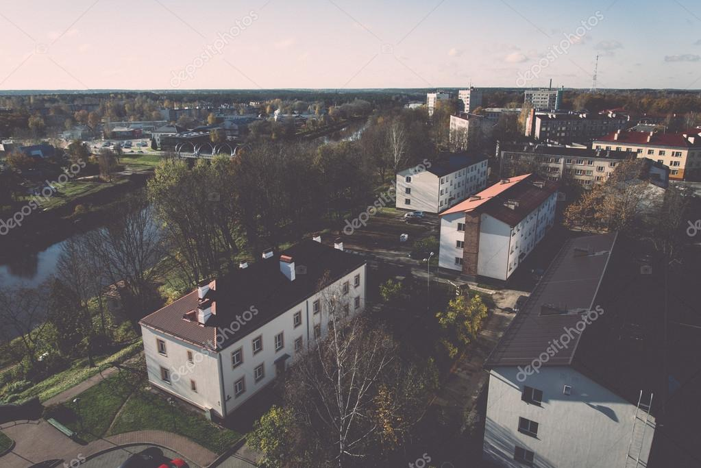 small town panoramic view from above in the autumn. Vintage.