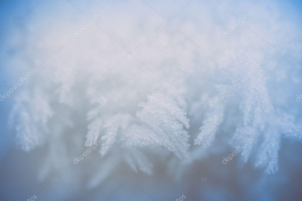 snowflake and ice crystal closeup. retro vintage polaroid effect