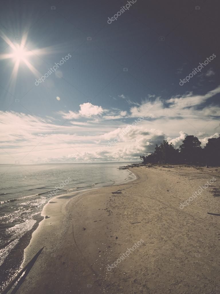 beach skyline with sand and perspective - retro, vintage