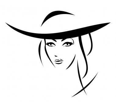 Vector silhouette - portrait of a beautiful girl in a hat