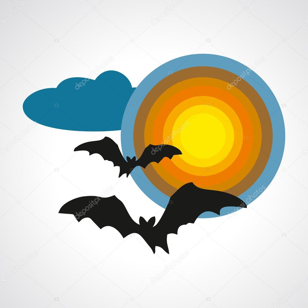Silhouettes of bats on full moon halloween symbol - vector illustration