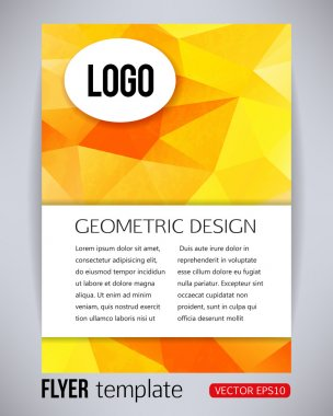 Orange and yellow geometric design brochure and flyer template, vector illustration
