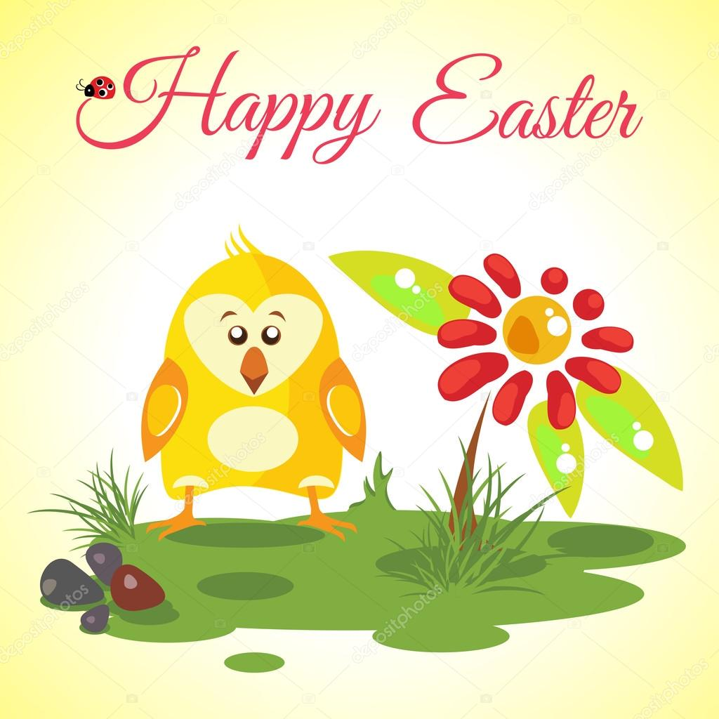 Happy Easter background meadow with cute chicken and red flower, vector illustration