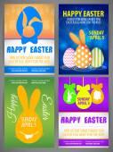 Glückliches Ostern bunte Vektor Abbildung Flyer Vorlagen Set mit Silhouetten von Kaninchen, Ei groß - eared Hase - Zähne, Huhn und Rabit Silhouetten in ei-ball