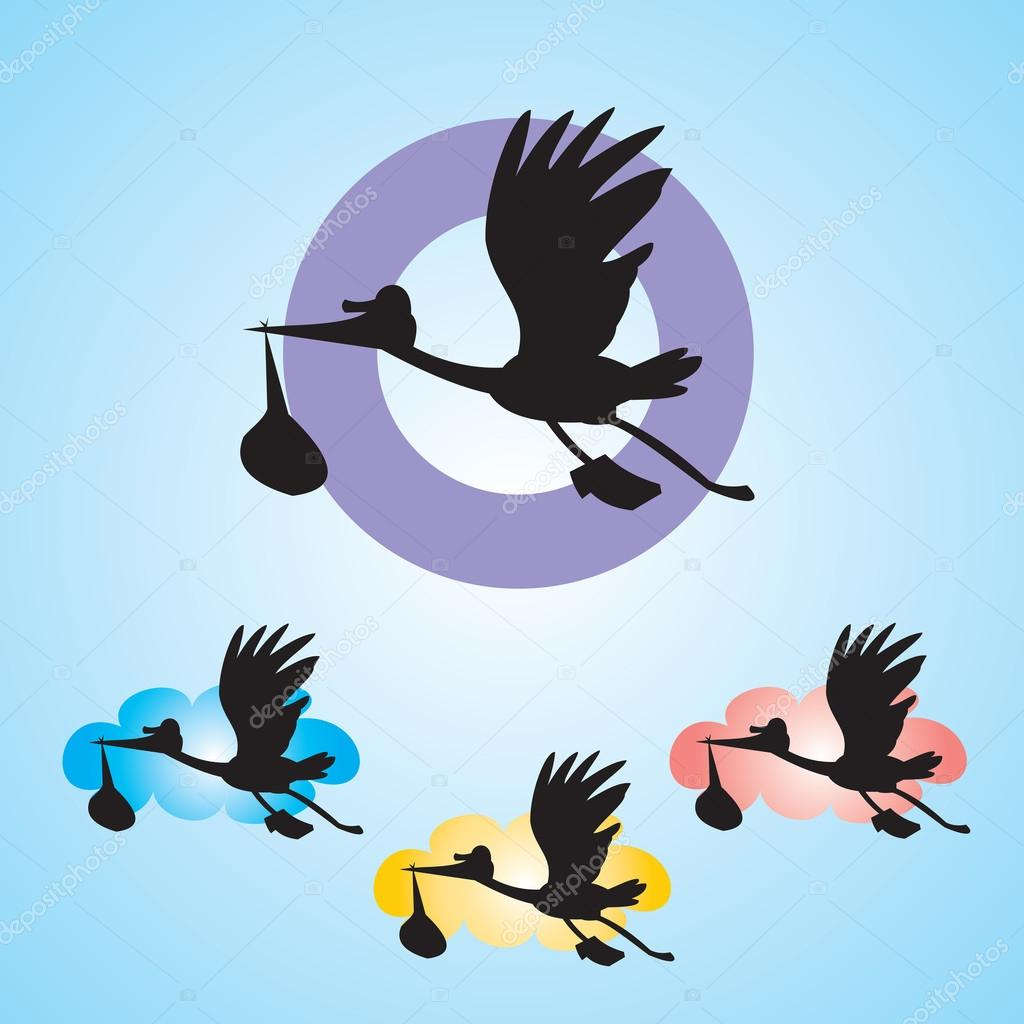 Stork with baby isolated on blue background - vector illustration