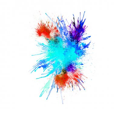 Abstract watercolor background - red, blue splashes, drops on paper or canvas, vector illustration