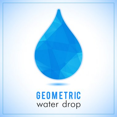 Beautiful blue triangle geometrical water drop logo - vector polygonal symbol
