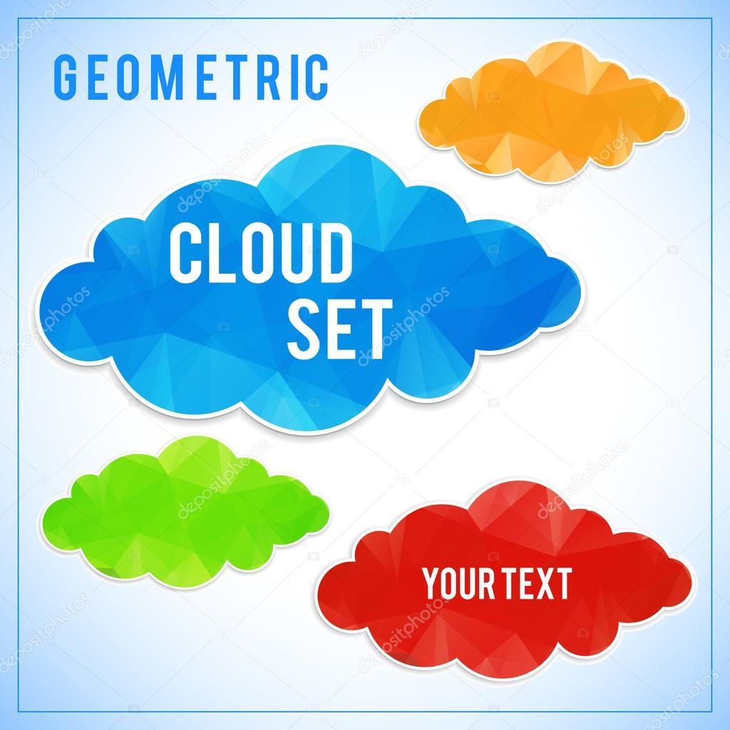Creative triangle geometrical multicolor cloud set - vector polygonal symbol