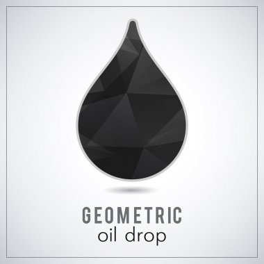 Beautiful black triangle geometrical oil drop logo - vector polygonal symbol