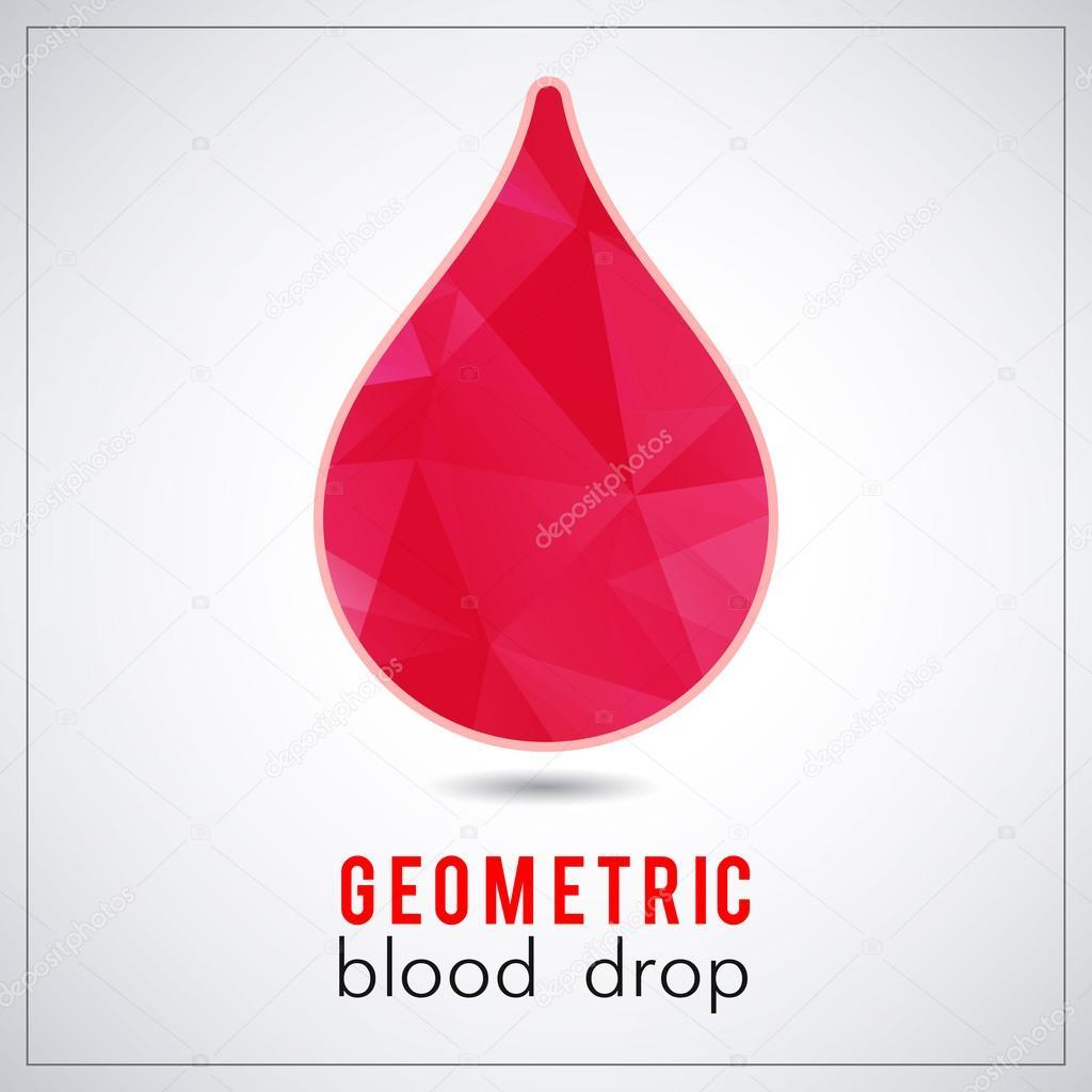 Beautiful red triangle geometrical blood drop logo - vector polygonal symbol