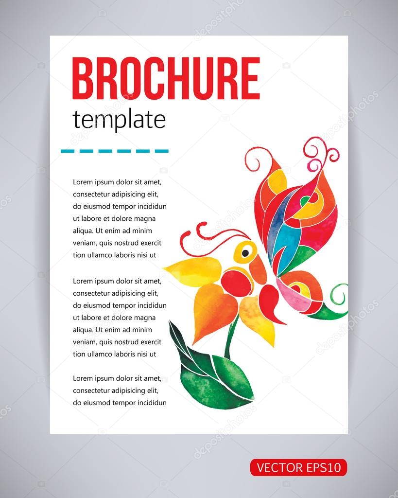 Vector brochure and flyer, poster template with abstract beautiful watercolor butterfly on a flower. Typography flyer invitation vector illustration