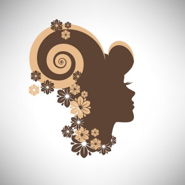 Vector illustration of abstract Beautiful woman silhouette  in profile with floral hair