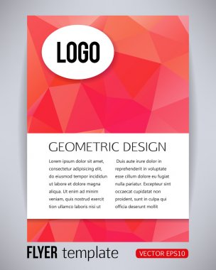 Abstract red and pink rectangle geometric design brochure and flyer template, vector illustration