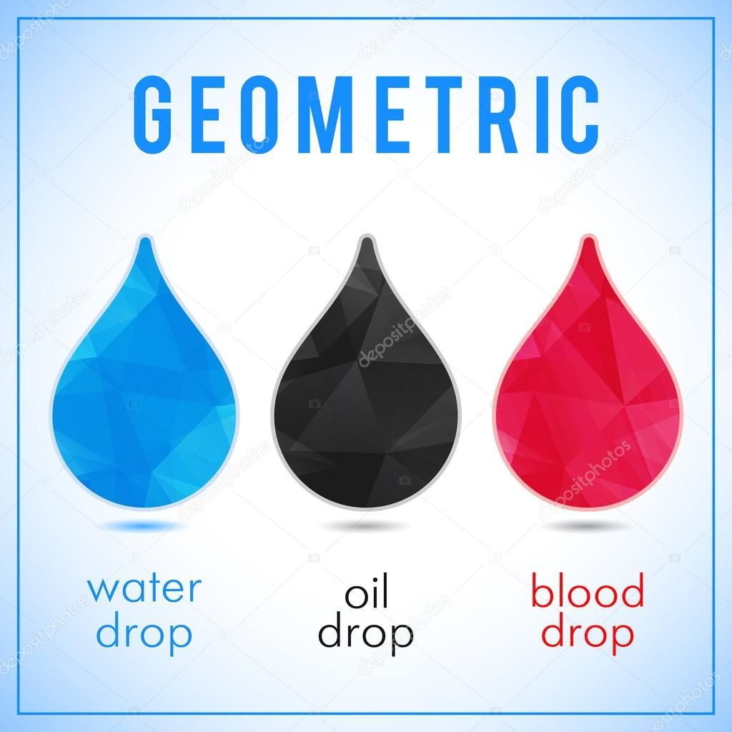 Set of abstract icons - geometric crystal water, oil and blood drops. Vector label template for business advertising
