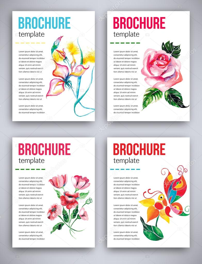 Abstract big set of flyers template with beautiful watercolor flower red poppies, pink rose, iris