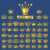 Photo Big beautiful gold crowns vector flat style icons set