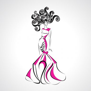 Vector illustration of girl in evening pink dress with curly hair for fashion design