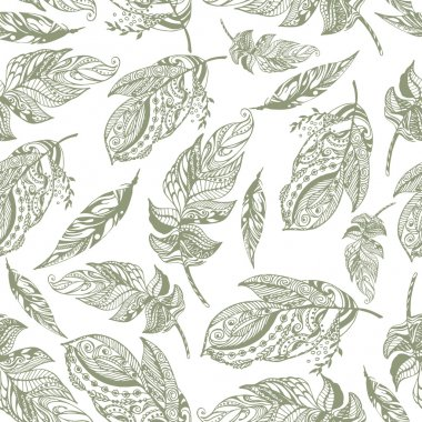 Vector seamless pattern of exotic peerless decorative hand drawn dark green feathers on white background