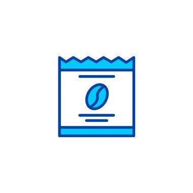 Coffee sachets icon. Icon for cafe and restaurant in blue style. icon