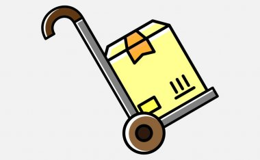 Handcart icon with box vector illustration on white background icon
