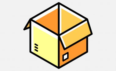 Opened cardboard cartoon box. Delivery and storage. Isometric vector illustration. Isolated on white background. icon