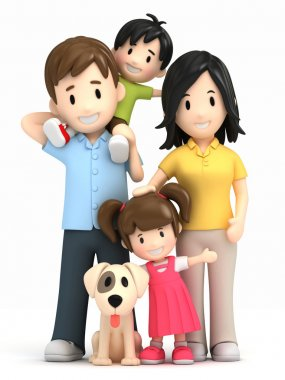 3d render of a happy family