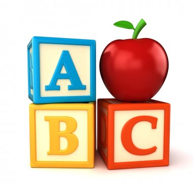 ABC building blocks with apple