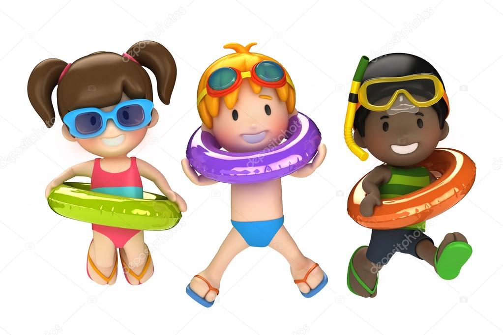 Kids with inflatable ring