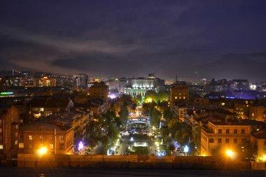 night shot of Yerevan Cascade.