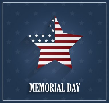 Memorial Day blue poster with star background. Vector illustration.