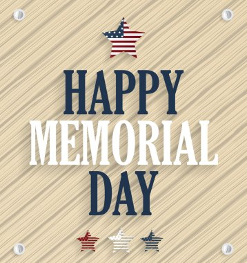 Memorial day poster. Wooden background. Vector illustration.