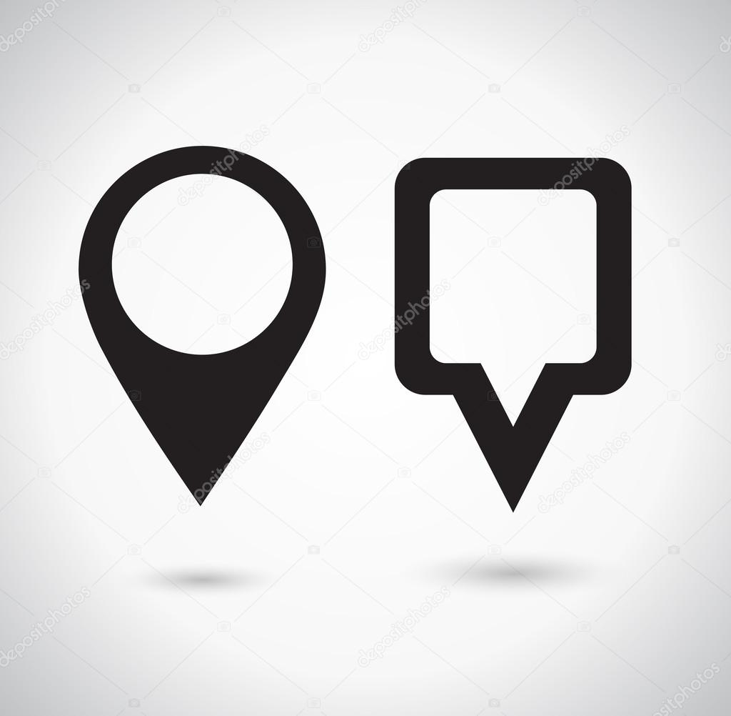 Map Pointer Icon. Location marker symbol. Round and square shape. Vector illustration.