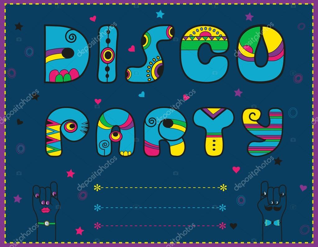 Disco Party. Einladung Zum Feiern. Lustige Blaue Schrift U2014 Stockfoto  #115928334