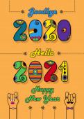 Sbohem 2020. Ahoj 2021. Šťastný Nový rok. Disco barevná čísla s jasným dekorem. Kreslené mužské a ženské ruce se na sebe dívají. Pomerančové pozadí. Vektorová ilustrace