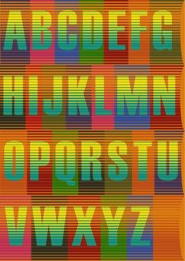 Striped  Bright Alphabet.  Vector Illustration