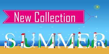 Inscription New summer collection. Vector Illustration