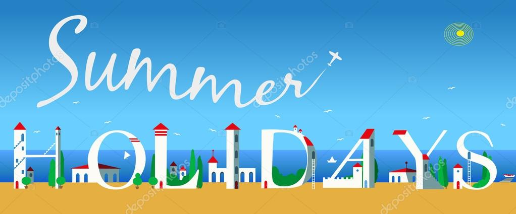Inscription Summer Holidays. Vector Illustration